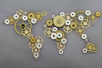 Cogs in the shape of a globe